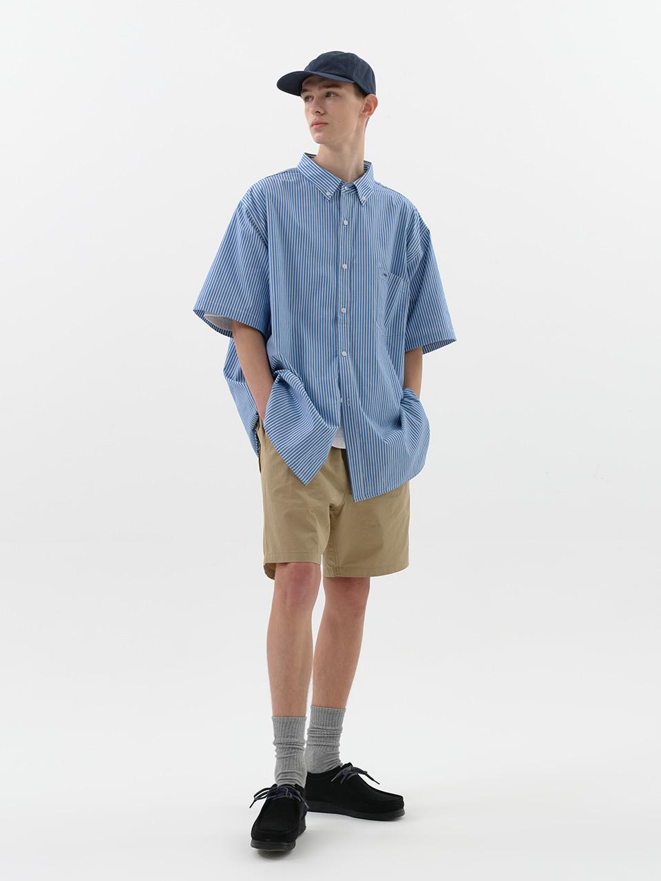 사운즈라이프(SOUNDSLIFE) [SM21 SOUNDSLIFE] Short Sleeve Shirt Big Boy Fit Blue