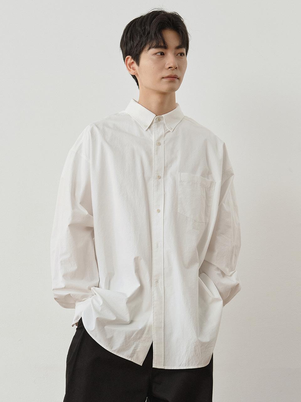 사운즈라이프(SOUNDSLIFE) [SS21] Button-down Shirt Big Boy Fit White